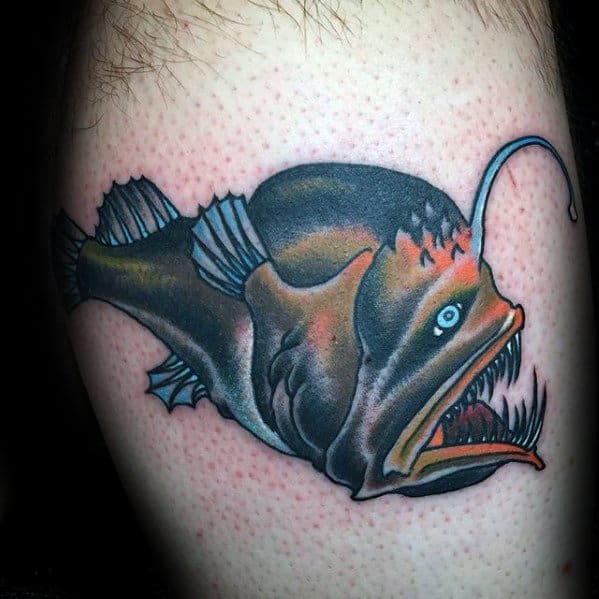 Distinctive Male Angler Fish Tattoo Designs Leg Calf