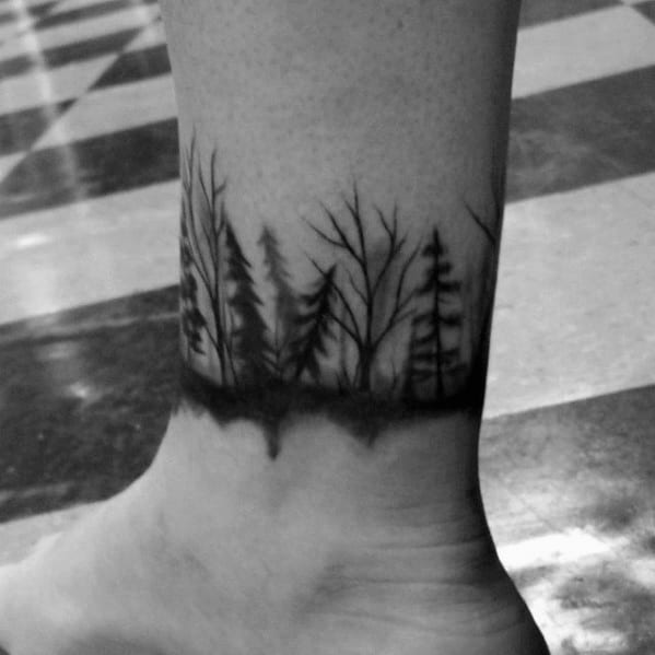 Distinctive Male Ankle Band Forest Tattoo Designs