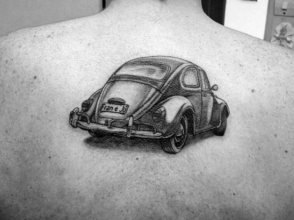 Distinctive Male Back 3d Volkswagen Wv Tattoo Designs