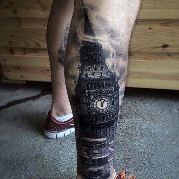 Distinctive Male Back Of Leg Big Ben Tattoo Designs