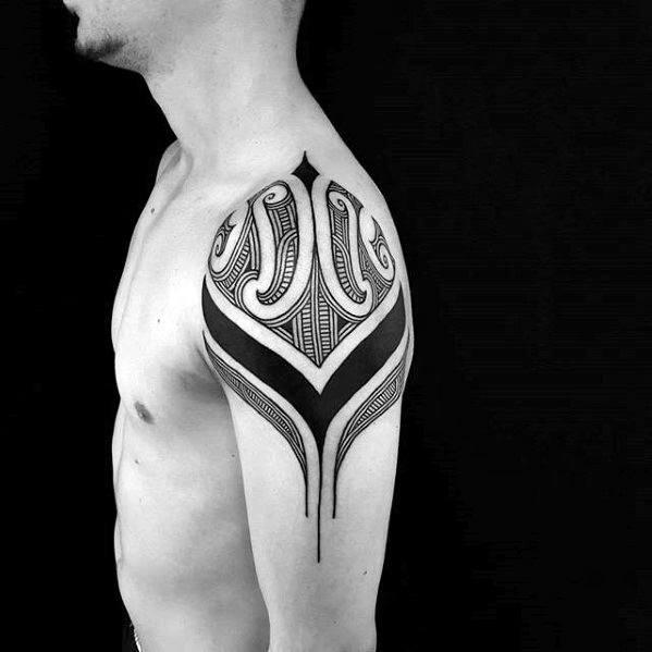 Distinctive Male Badass Tribal Tattoo Designs On Shoulder Cap