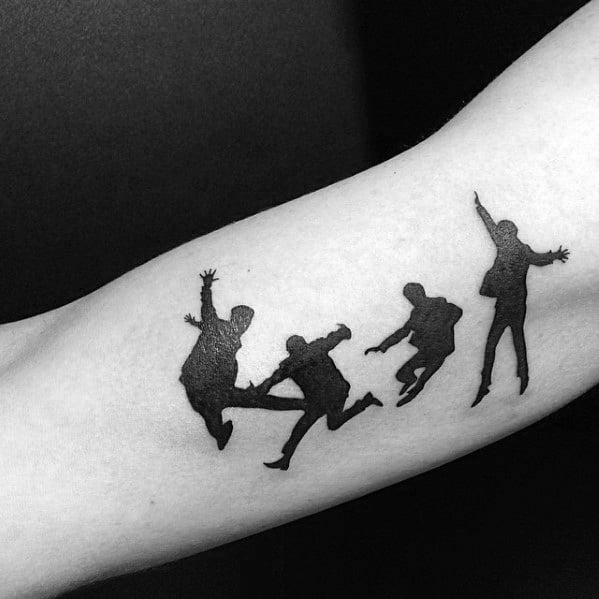 Distinctive Male Beatles Tattoo Designs On Inner Arm Bicep