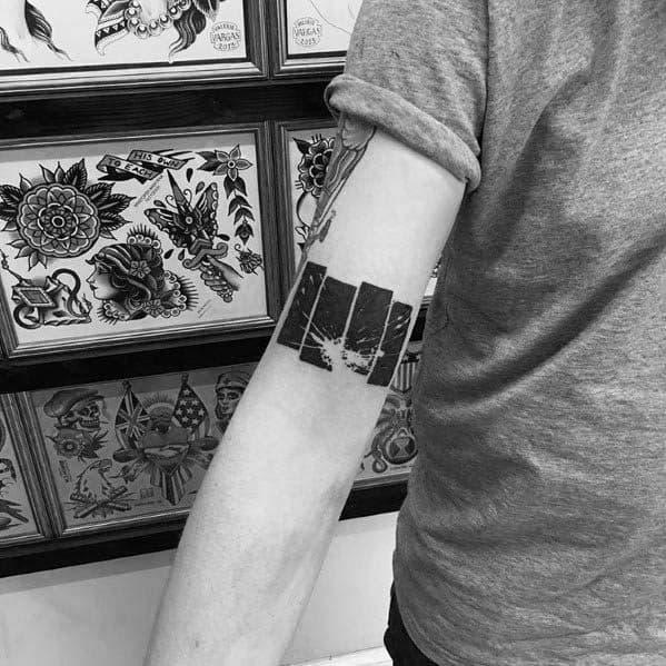 Distinctive Male Black Flag Tattoo Designs