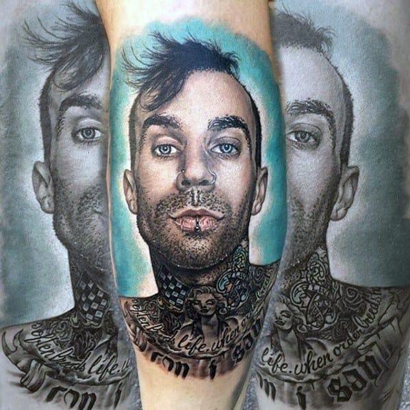 Distinctive Male Blink 182 Portrait Leg Tattoo Designs