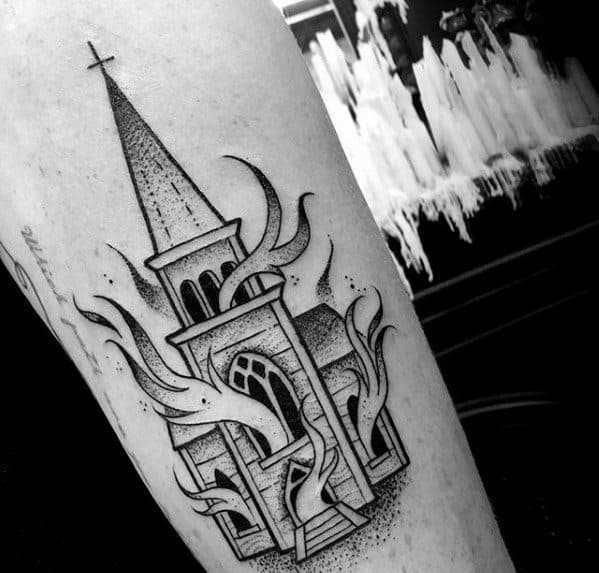 Distinctive Male Burning Church Tattoo Designs