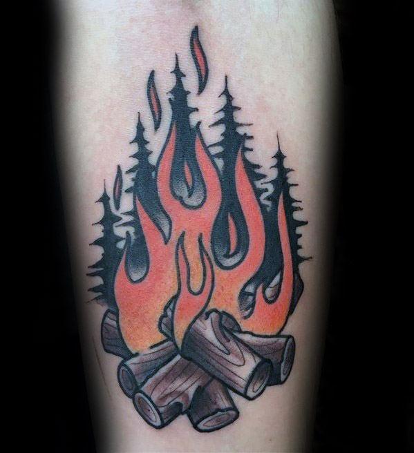 Distinctive Male Campfire Tattoo Designs