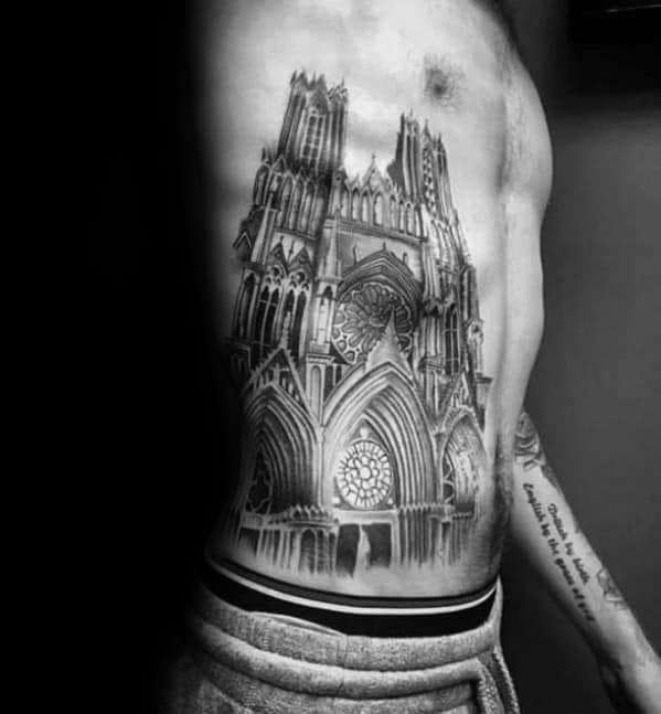 Distinctive Male Cathedral Tattoo Designs On Rib Cage Side Of Body