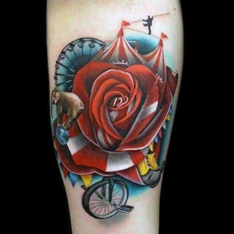 Distinctive Male Circus Themed Rose Flower Inner Forearm Tattoo Designs