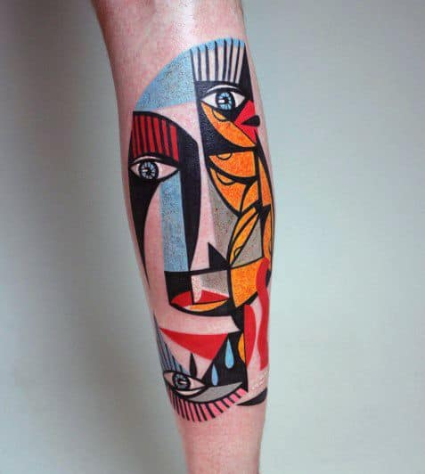 Distinctive Male Cubism Tattoo Designs On Back Of Leg