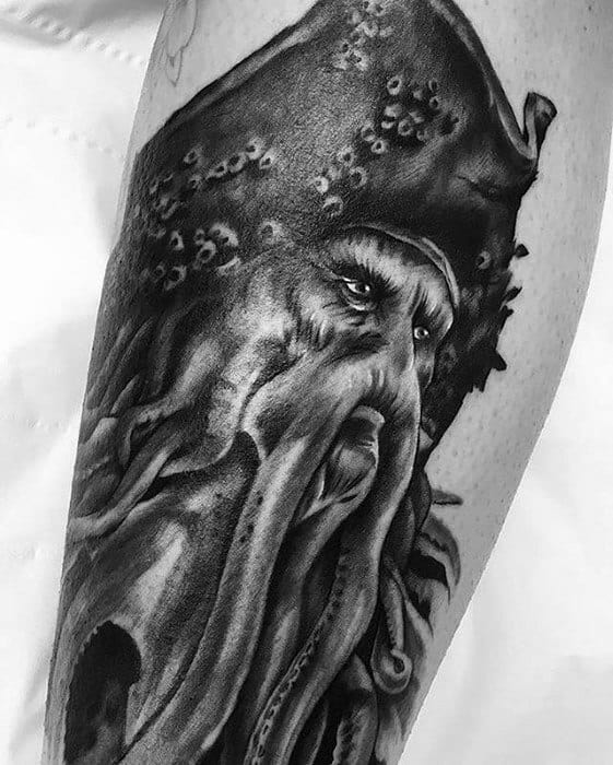 Distinctive Male Davy Jones Leg Tattoo Designs