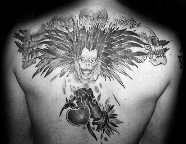 Distinctive Male Death Note Tattoo Designs On Upper Back