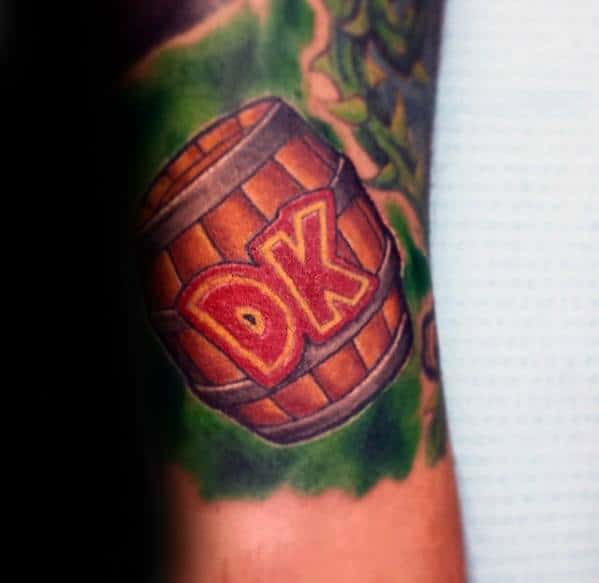 Distinctive Male Donkey Kong Barrel Forearm Tattoo Designs