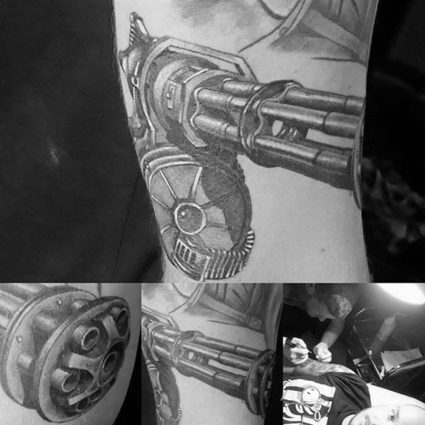 Distinctive Male Fallout Gun Arm Tattoo Designs