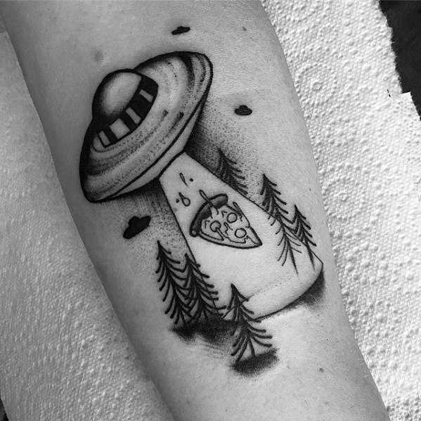 Distinctive Male Forearm Alien Spaceship Pizza Tattoo Designs