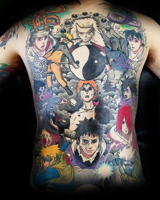 Distinctive Male Full Back Naruto Themed Tattoo Designs