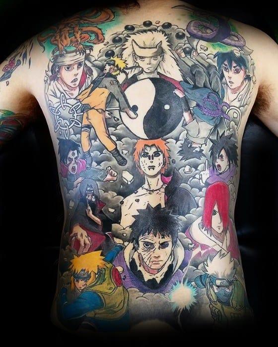 Distinctive Male Full Back Naruto Themed Tattoo Designs