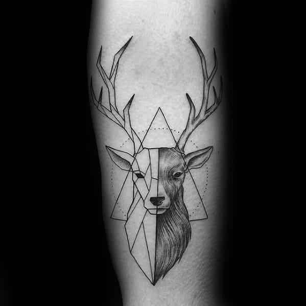 Distinctive Male Geometric Deer Animal Tattoo Designs