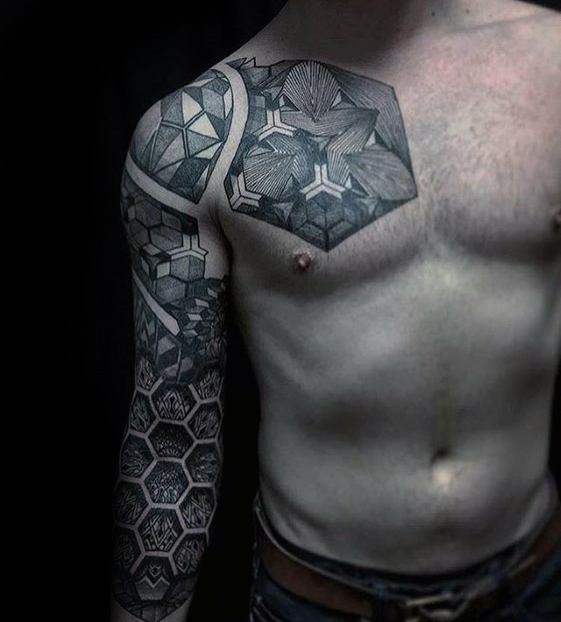 Distinctive Male Geometric Sleeve Tattoo Designs