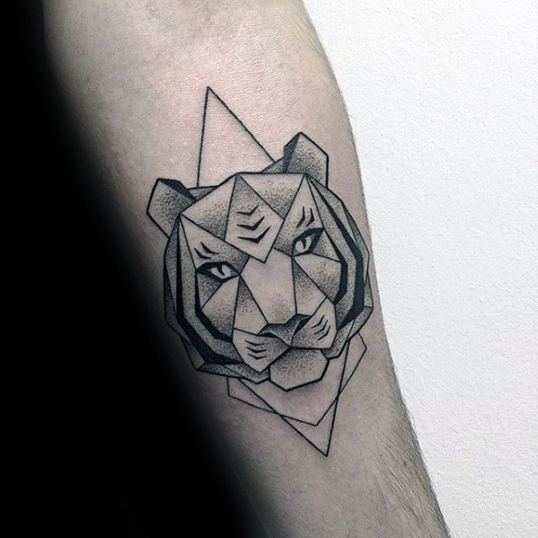 Distinctive Male Geometric Tiger Tattoo Designs