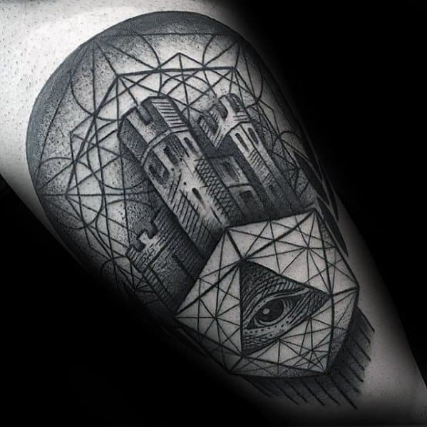 Distinctive Male Geometric Tower With Eye Arm Tattoo Designs