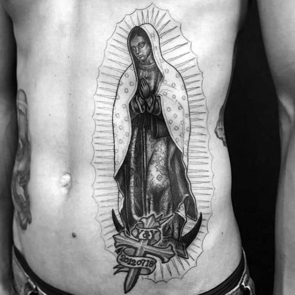Distinctive Male Guadalupe Tattoo Designs Rib Cage Side