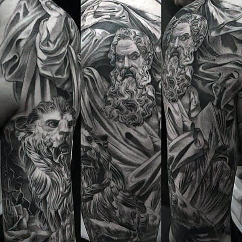 Distinctive Male Half Sleeve Chicano Style Lion Statue Tattoo Designs