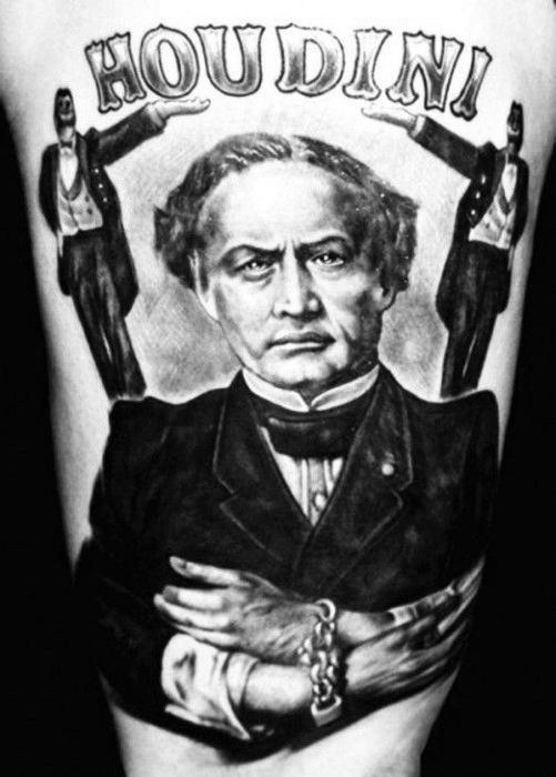 Distinctive Male Harry Houdini Magician Tattoo Designs On Thigh