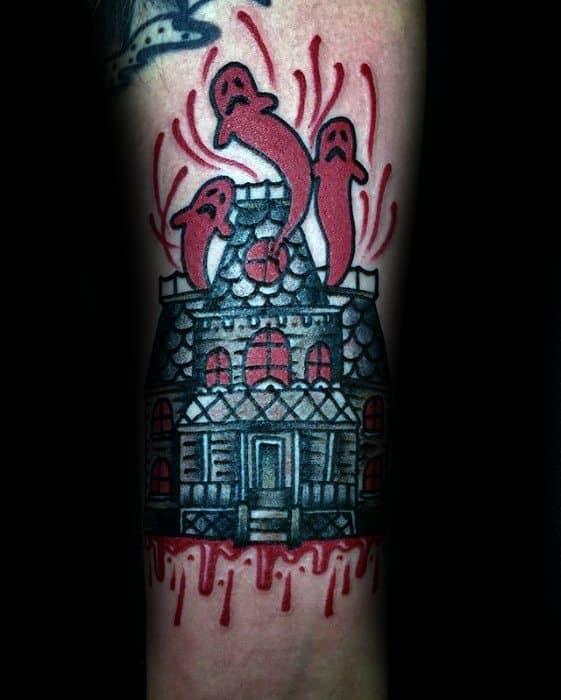 Distinctive Male Haunted House Tattoo Designs