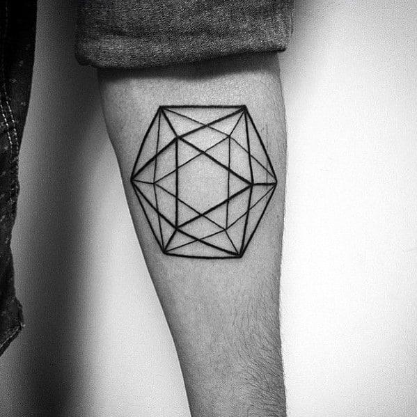 Distinctive Male Icosahedron Tattoo Designs