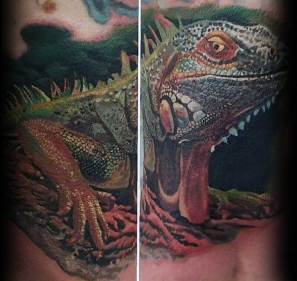 Distinctive Male Iguana Tattoo Designs