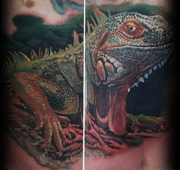Distinctive Male Iguana Tattoo Designs