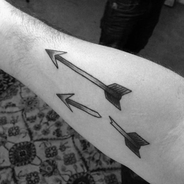 Distinctive Male Inner Forearm Two Broken Arrows Tattoo Designs