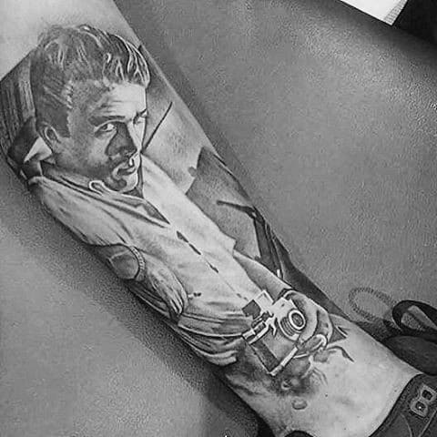 Distinctive Male Leg Shaded James Dean Tattoo Designs