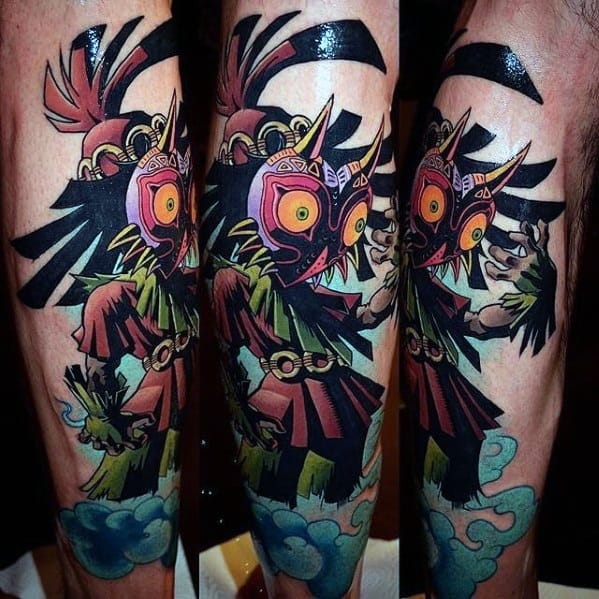 Distinctive Male Majoras Mask Leg Tattoo Designs