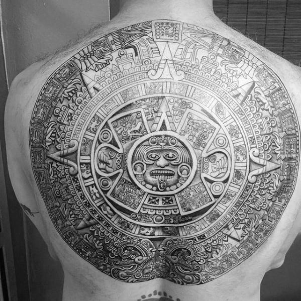 Distinctive Male Mayan Calender 3d Back Tattoo Designs