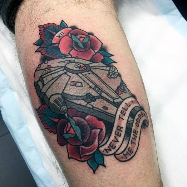 Distinctive Male Millennium Falcon Tattoo Designs