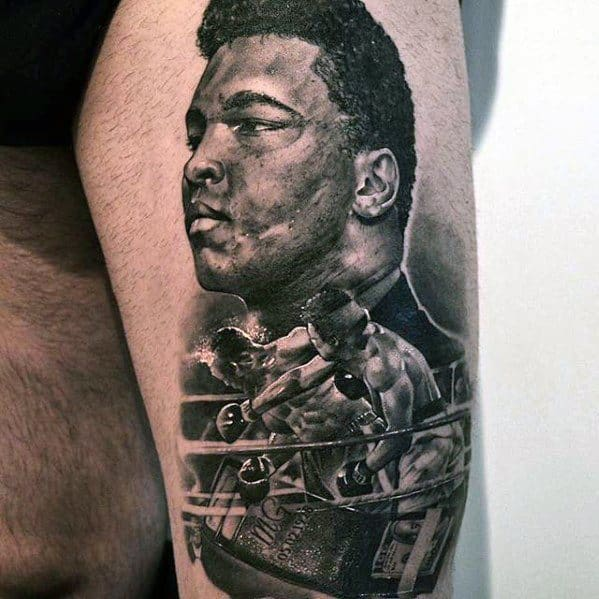 Distinctive Male Muhammad Ali Tattoo Designs On Thigh