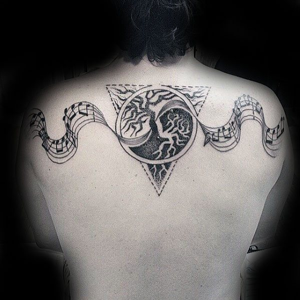 Distinctive Male Music Staff Tattoo Designs Yin Yang Upper Back