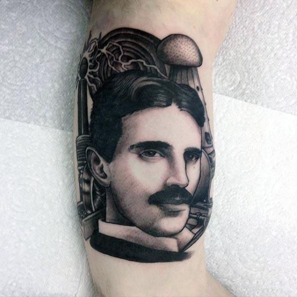 Distinctive Male Nikola Tesla Tattoo Designs