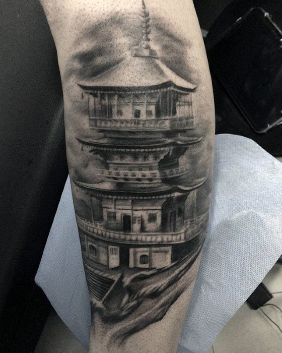 Distinctive Male Pagoda Tattoo Designs