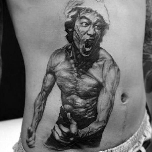 Distinctive Male Rib Cage Side Bruce Lee Tattoo Designs