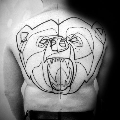 Distinctive Male Roaring Bear Back Outline Tattoo Designs