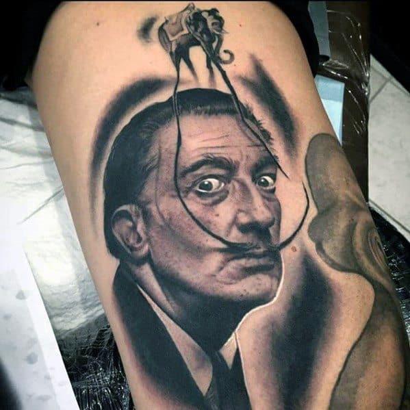 Distinctive Male Salvador Dali Elephant Tattoo Designs