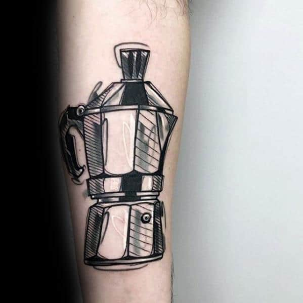 Distinctive Male Sketched Black And Grey Ink Coffee Tattoo Designs Inner Forearm