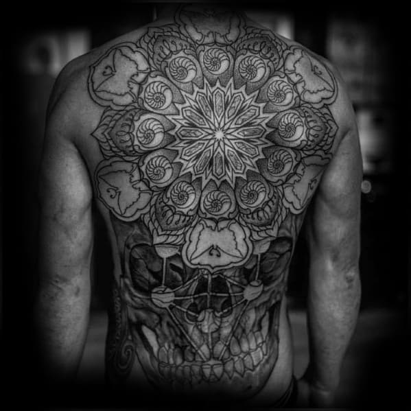 Distinctive Male Skull Back Tattoo Designs