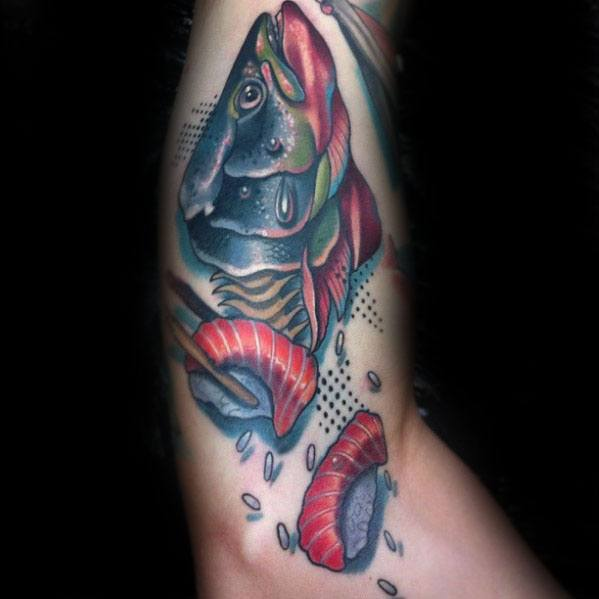 Distinctive Male Sushi Fish Arm Tattoo Designs