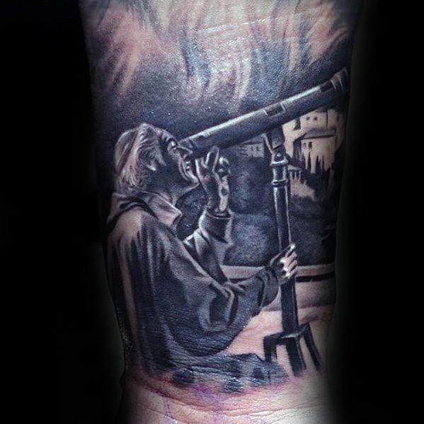 Distinctive Male Telescope Tattoo Designs On Wrist