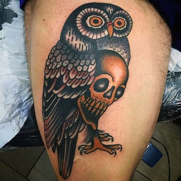 Distinctive Male Thigh Owl Skull Tattoo Designs