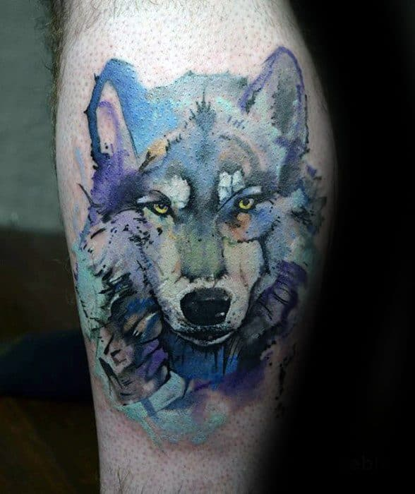 Distinctive Male Thigh Wolf Watercolor Tattoo Designs