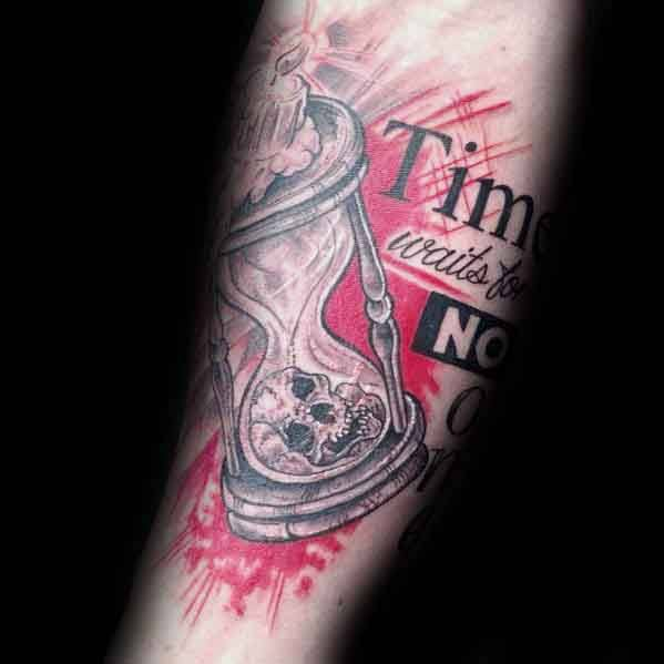 Distinctive Male Time Waits For No Man Tattoo Designs